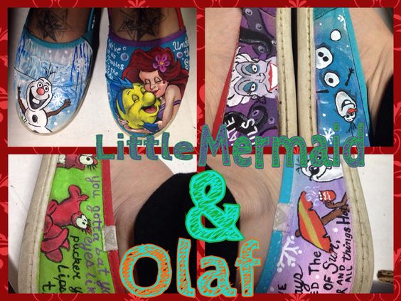 Olaf and little mermaid handpainted shoes