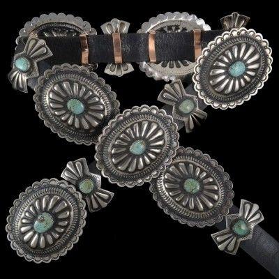 Turquoise Concho Belt 22982 | Alltribes