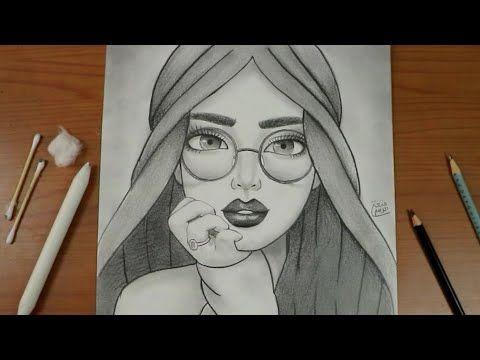 كيف ترسم بنت تلبس نظارة بقلم الرصاص تعلم رسم وجه فتاة ترتدي