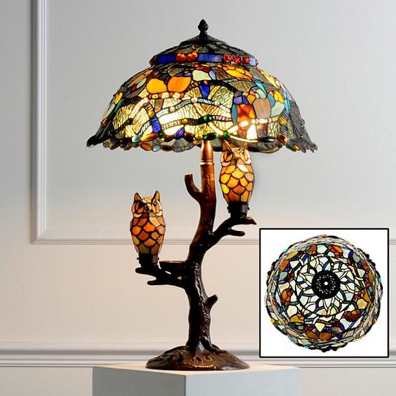 Tiffany Style Dream Catcher with Illuminated Owl Table Lamp