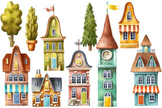 Cute Old Houses Clipart Set Buildings And Trees Images Digital Download Personal And Commercial Use House Clipart House Illustration Tree Images