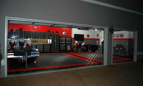 beautiful garage with moduline cabinets note blacksilver cabinets i need the hoist room pinterest note dream garage and men cave - Garage Design Ideas