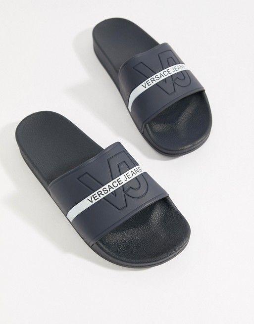 huge inventory 100% quality sells Versace Jeans Logo Sliders In Navy