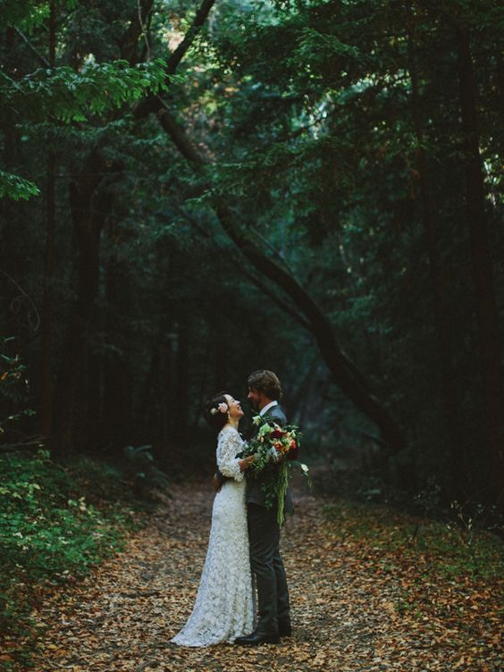 A Vintage Edwardian Crochet Dress For A Californian Wedding in the Woods