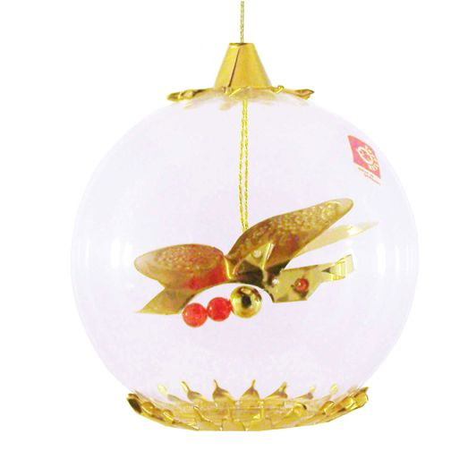 Gold Butterfly with Red Beads Ornament by Resl Lenz in Bodenkirchen