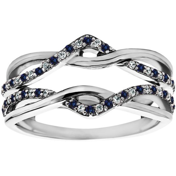 TwoBirch 10k White Gold 1/10ct TDW Diamond and Sapphire Infinity Ring Guard Enhancer - Overstock™ Shopping - Top Rated Wraps & Guards