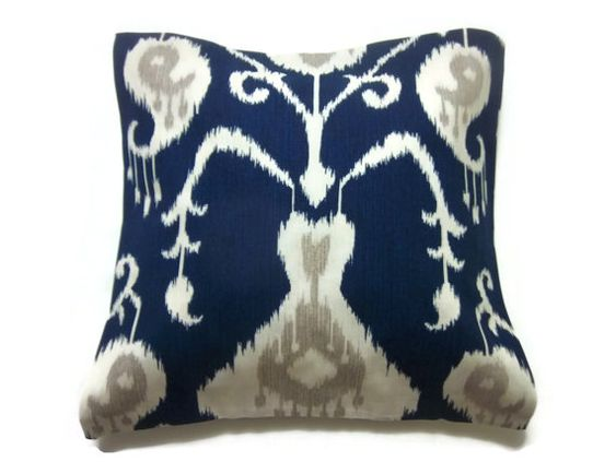 Decorative Pillow Cover Navy Blue White Taupe by LynnesThisandThat