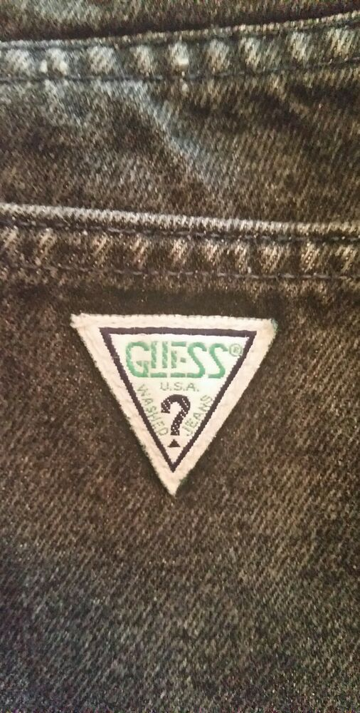 Vintage Guess Jeans Shorts Black Denim Green Triangle Made