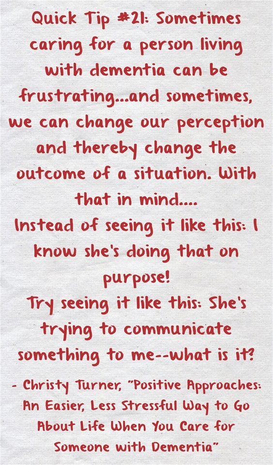 Change in Perception #quicktip #21 #communication #dementia #ctcdcm #perception #whatisit Visit our website at http://www.CTCDementiaCareManagement.com