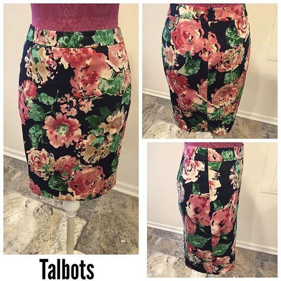 Talbots Petites Size ~ 4P Shell ~ 97% cotton, 3% spandex Lining ~ 100% polyester  Waist ~ 14 Hips ~ 17.5 Length ~ 20 Hidden back zipper Hook & eye Back split 5.5 Black Flowers Multicolored $24