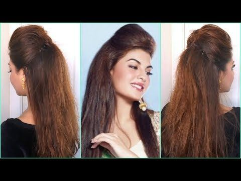 Quick Easy Big Puff Hairstyle Half Up Half Down Hair Tutorial Diy Bollywood Hairstyles At Home Hair Puff Bollywood Hairstyles Hair Styles