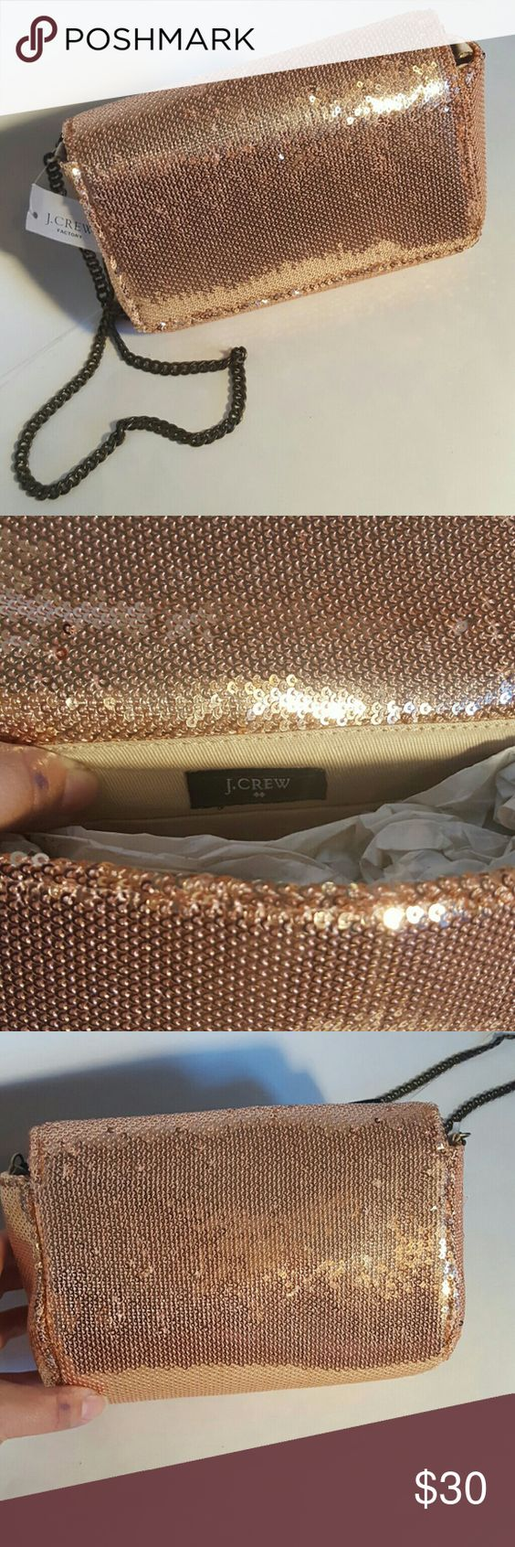 *SALE* J.CREW. evening clutch rose gold Condition 9/10, brand new with tags ,but on the bag if noticed that 2-3 sparkles are missing , which its not noticeable, like you see on the picture, probably from moving in one closet to another, it's great for upcoming holidays, Height 6', Length 8.5', Width 2.5', if you have any questions just let me know. Thanks. Happy Holidays. J. Crew Factory Bags Clutches & Wristlets