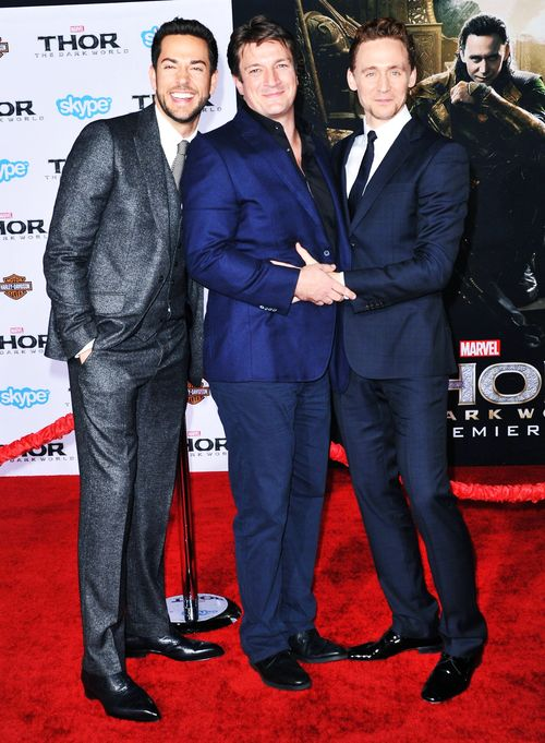 Nerd Joy?  How about some straight up Nerd Porn? Zachary Levi, Nathan Fillion, and Tom Hiddleston at Thor: The Dark World premier.