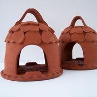 Small Terracotta Bird Feeder House