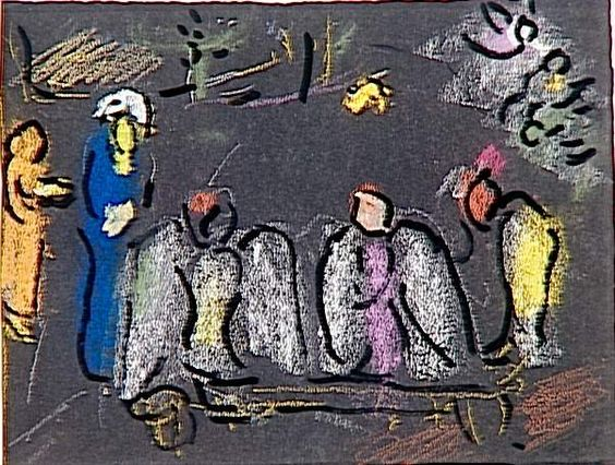 Abraham and three Angels, 1964 by Marc Chagall. Naïve Art (Primitivism). sketch and study. Musée national Message Biblique Marc Chagall, Nice, France: