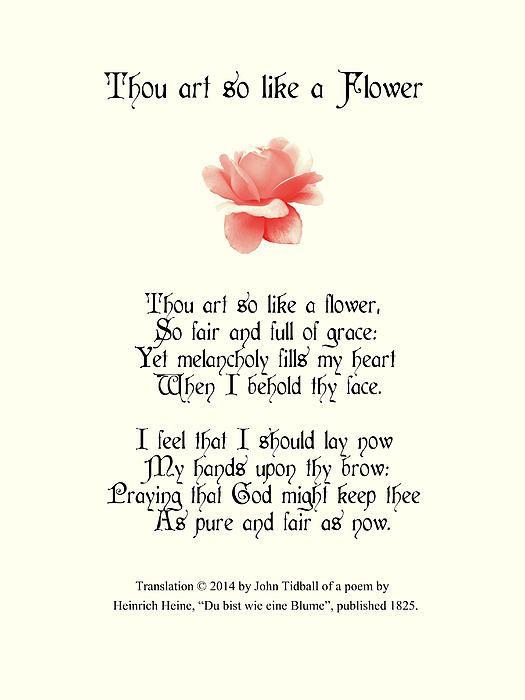 """Thou art so like a Flower"", translation of Heine's poem ""Du bist wie eine Blume""."