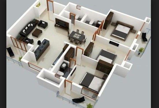 Desain Rumah Modern Kamar 3 House Blueprints Denah Rumah Desain Rumah Bungalow