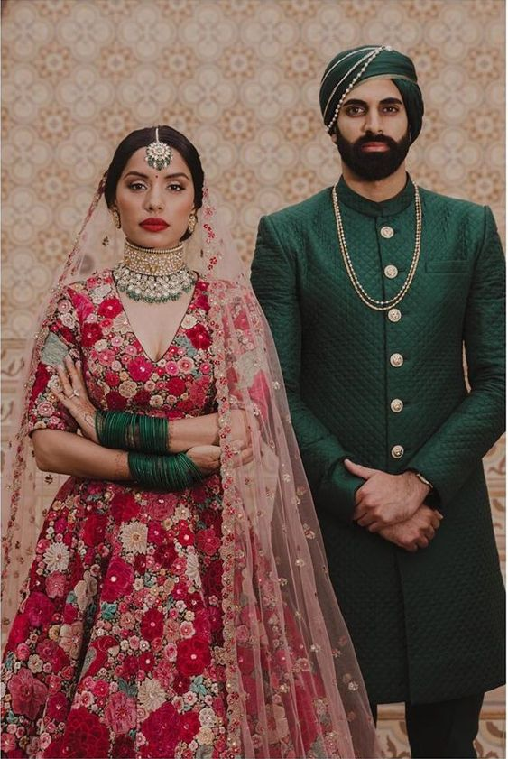 Red floral gown and green kurta by Sabyasachi #Frugal2Fab