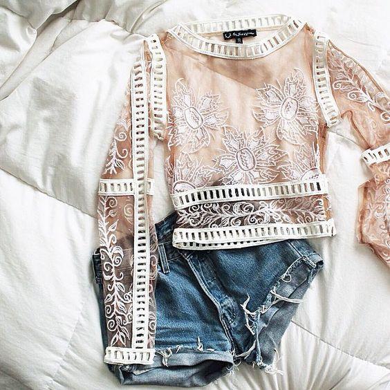 #desertnightscroptop #forloveandlemons and denim cutoff shorts