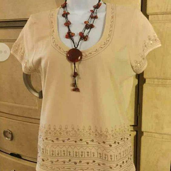 Liz Claiborne  ladies top 90% cotton, 10% spandex  material, accented with beads Liz Claiborne  Tops Blouses