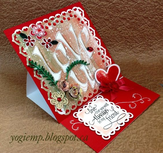Easel card, quilling, gelli Print technique with calligraphy, dies, Quietfire Design quote stamp. - http://yogiemp.blogspot.ca/2015/01/mc-jan15-quill-easel-gelli-print-love-u.html