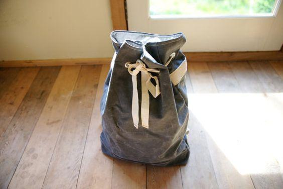 Waxed Canvas Drawstring Backpack - Charcoal Grey