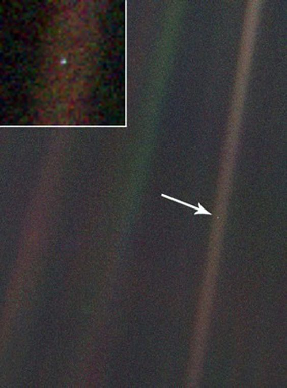 """""""Pale Blue Dot is a photograph of planet Earth taken from a record distance of 3.7 billion miles"""" by Voyager 1"""