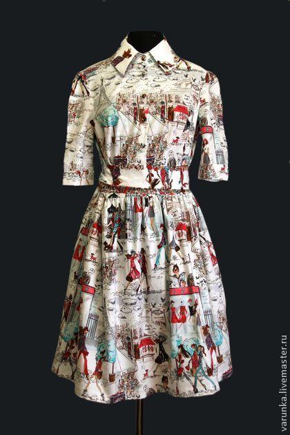 """Платье """" о, Парижжжж"""" - рисунок,Париж,парижанка,варвара токарева,винтаж"""