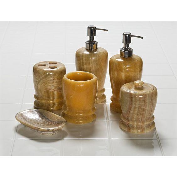 Creative Home Marble Bathroom Accessories   6 Piece Set in Yellow Jade. Creative Home Marble Bathroom Accessories   6 Piece Set
