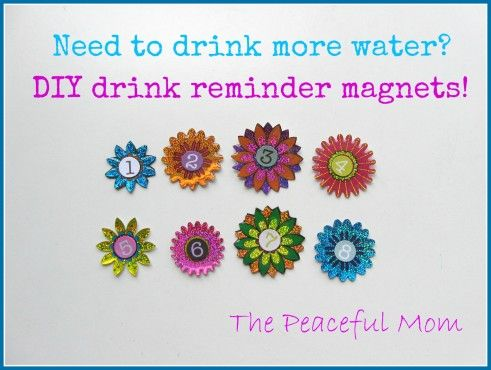 Great idea! Im terrible at remembering to drink water.    DIY Drink Reminder Magnets--The Peaceful Mom