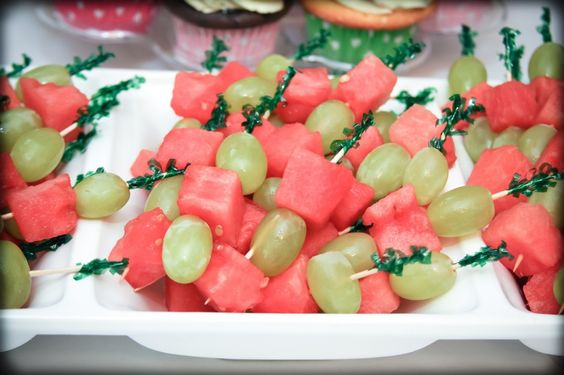 pink and green food ideas - green grapes and watermelon skewers