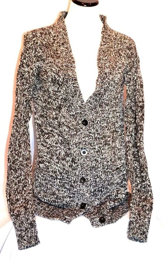 LEVIS Women's Black and White 100% Cotton 5 Button-Down Cardigan Sweater Sz M #Levis #Cardigan