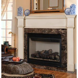 Fireplace mantle idea. I like the white trim and simple lines. But we want a hearth added.