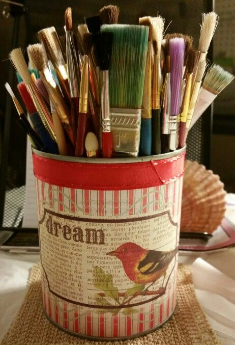 Having a little fun with a vegetable can, paper and ribbon for my paint brushes. Inspiration comes in all kinds of things.