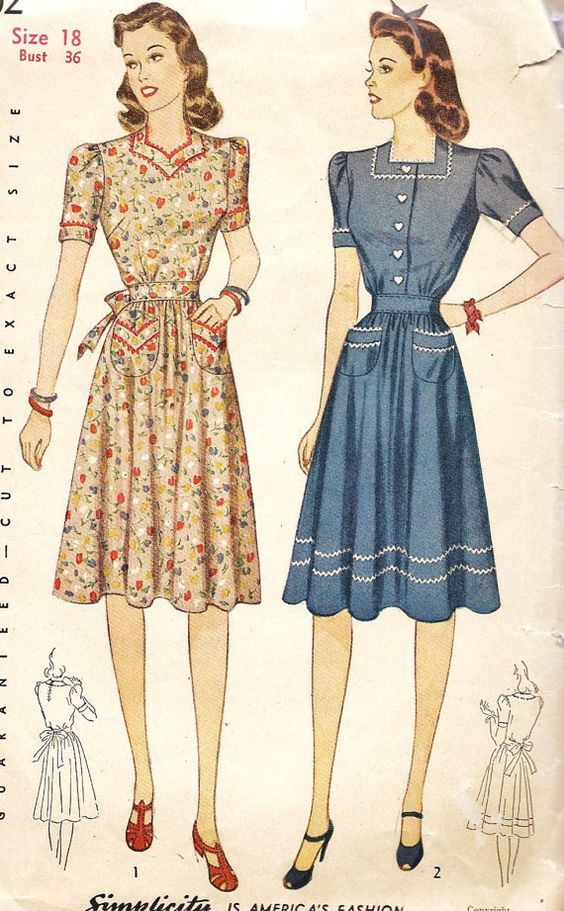 1940s Misses Dress Vintage Sewing Pattern day dress casual floral red white pink blue war era WWII color illustration fashion style house wife looks: