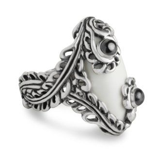 Amazon.com: Carolyn Pollack Sterling Silver White Agate Winter Lace Ring: Jewelry