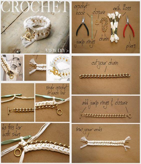 pulsera tejida con cadena