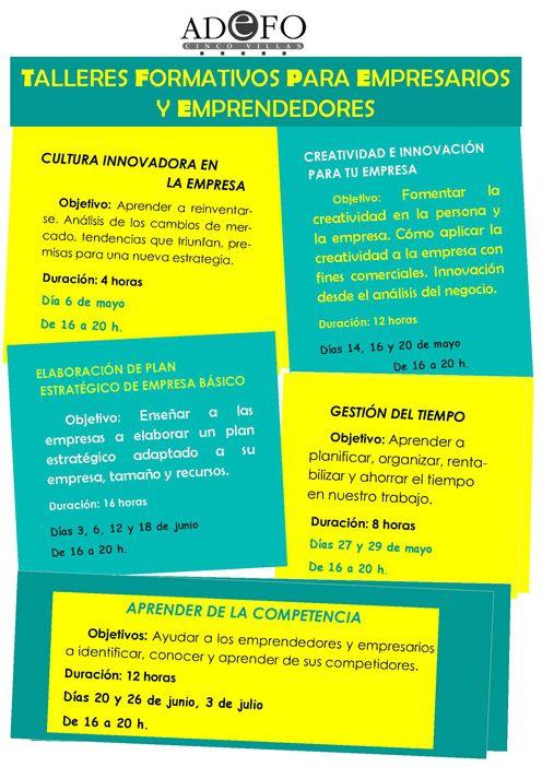 Formación para mayo y junio en Ejea de los Caballeros, Tudela y Peralta.