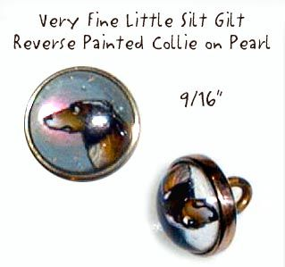 19th C. Reverse Glass Intaglio Collie Dog Waistcoat Jewel Button ~ R C Larner Buttons at eBay  http://stores.ebay.com/RC-LARNER-BUTTONS