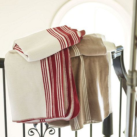 Imagine a mountain cabin and a cozy fire. That's what it feels like to wrap your self in our luxurious Banbury Fleece Throw. Made in Germany, home of the world's best fleece, this fully reversible striped throw is finished with whipstitch edge.