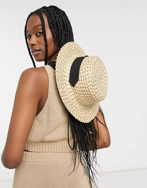 ASOS DESIGN two tone natural straw boater with undertie and size adjuster