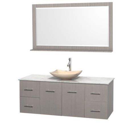 Wyndham Collection Centra 60 inch Single Bathroom Vanity in Gray Oak, White Carrera Marble Countertop, Arista Ivory Marble Sink, and 58 inch Mirror
