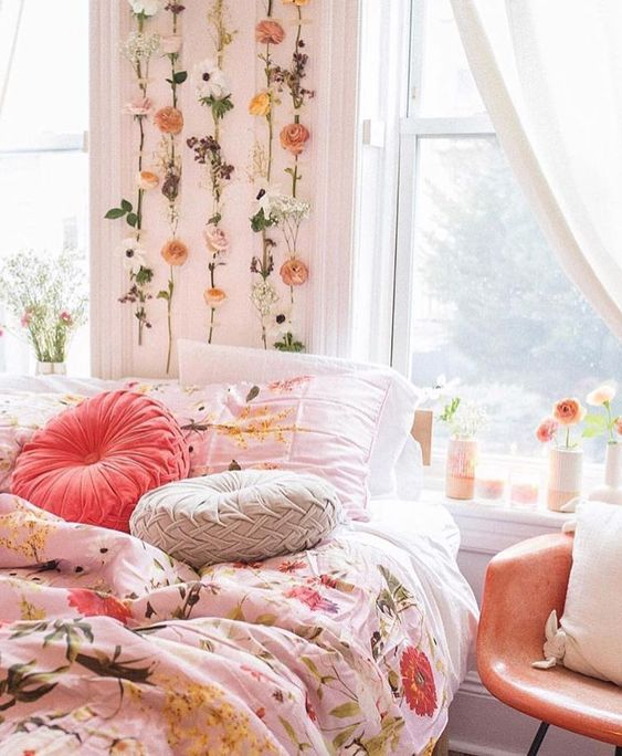 Bedroom with pink accents. Boho Chic Pretty in Pink Apartment. #boho #bedroom #pink