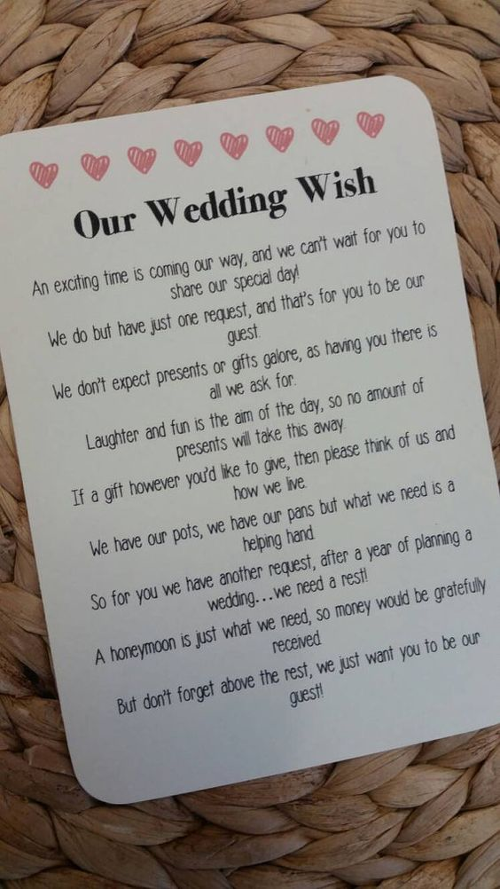 Wedding Gift Poem For Money : Wedding Poem Invitation Insert Money As A Gift by LolasLoveNotes