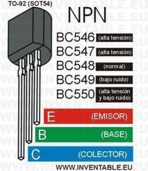 El transistor BC548 y la serie BC546 BC547 BC549 BC550
