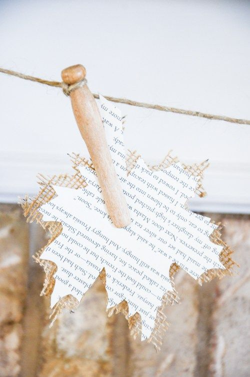 BURLAP AND BOOK-PAGE LEAF GARLAND-And easy to make garland!                                                                                                                                                     More