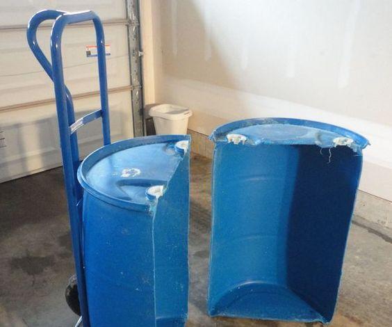 Wheelbarrow Made From Plastic Barrel.
