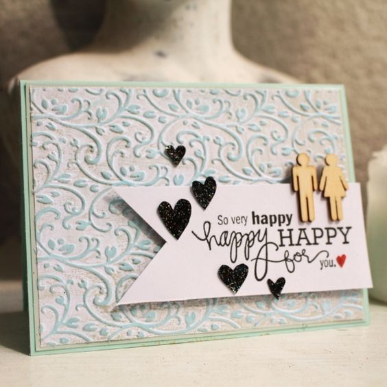 wedding card with embossing