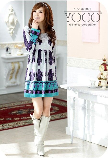 Wholesale Korean Dress J1955 Blue [Korean Dress J1955 Blue ...