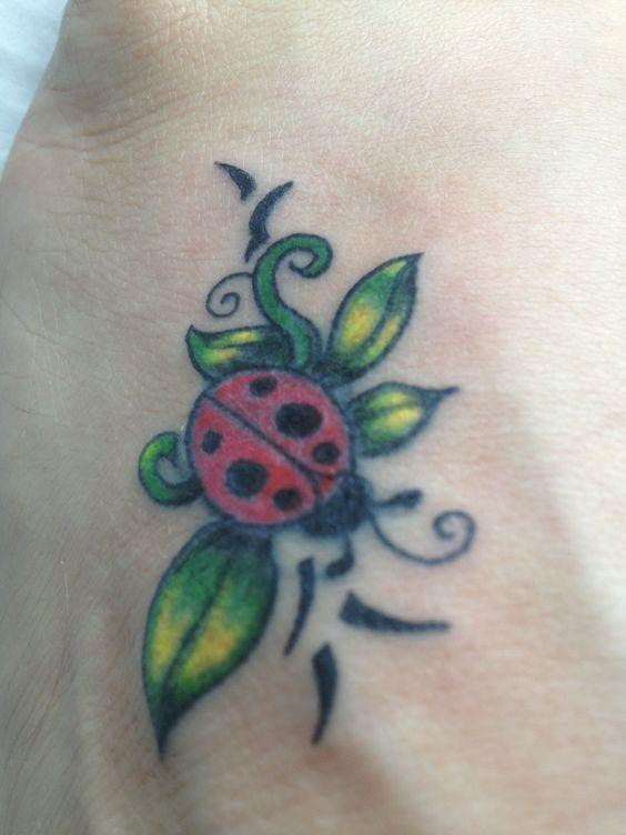Ladybug tattoo on my own foot tattoos pinterest on for Ladybug heart tattoos